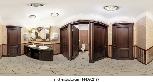 MINSK, BELARUS - JANUARY, 2019: full seamless spherical panorama 360 degrees angle view in interior stylish bathroom restroom in modern public toilet in equirectangular projection