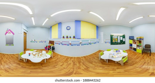 MINSK, BELARUS - JANUARY, 2020: full seamless spherical hdri panorama 360 degree in interior of class of children's development in equirectangular  projection, VR content