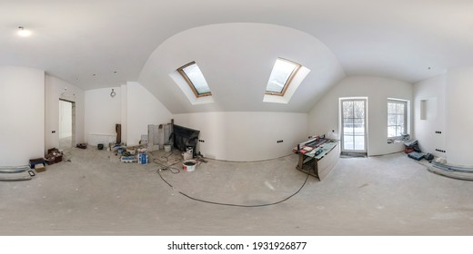 MINSK, BELARUS -  JANUARY 2021: empty white room without repair and furniture. full spherical hdri panorama 360 degrees in interior room in modern apartments in equirectangular projection