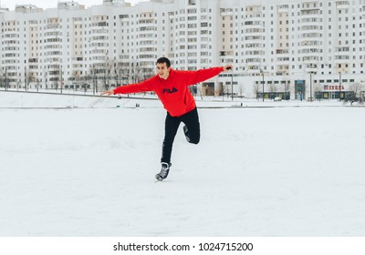 Minsk Belarus January 21, 2018 Walking on the ice of a frozen river The guy is skating