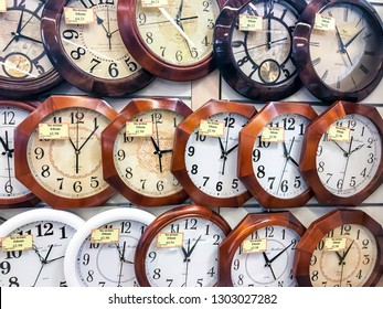 Minsk, Belarus - January 26, 2019: sale of various wall clocks from various manufacturers in the store