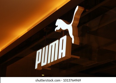 Minsk, Belarus, January 27, 2018: Puma logo on the shop in the outlet center