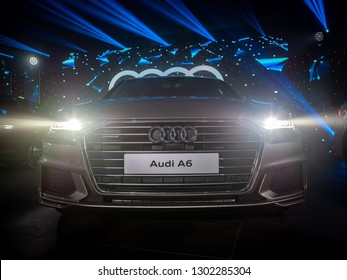 MINSK, BELARUS - January 31, 2019: All new Audi A6 is on display at the presentation in an Audi dealer centre. In its 8th generation Audi A6 is a mild hybrid vehicle (MHEV) with lithium-ion battery.