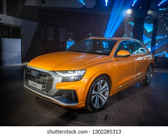 MINSK, BELARUS - January 31, 2019: All new sport crossover SUV Audi Q8 is on display at the presentation in an Audi dealer centre. Audi Q8 is a mild hybrid vehicle (MHEV) with lithium-ion battery.