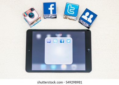 Minsk, Belarus - January 5, 2016: Apple iPad with a tab open social networks: Facebook, Twitter, Vayber, Skype. Facebook, Twitter, Instagram logoes on the dice.