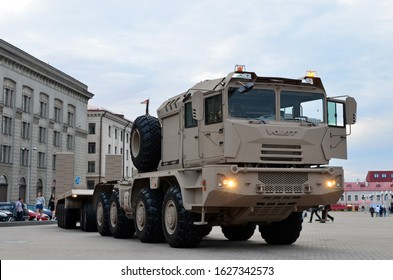 MINSK, BELARUS. JUL 27, 2019: Truck MZKT-741351 8x8 with two trailers developed by order of the United Arab Emirates army. Volat (Minsk Wheel Tractor Plant Open Joint Stock Company)