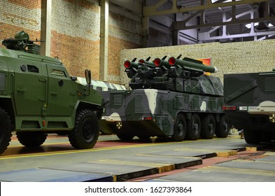 MINSK, BELARUS. JUL 27, 2019: Inside of the Minsk Wheel Tractor Plant VOLAT, MZKT. Industrial workshop for the production of military trucks and wheel chassis and vehicles which carries heavy loads
