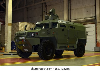 MINSK, BELARUS JUL 27, 2019: Inside of the Minsk Wheel Tractor Plant VOLAT. MRAP Volat-V1 the armoured vehicle MZKT-490100, can be used as APC, C2, reconnaissance, military police