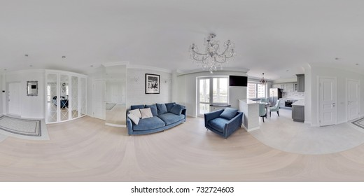 MInsk, BELARUS - Juli 17, 2017: Light apartment interior, living room, hall, ace panorama,  full 360 panorama in equirectangular spherical projection, VR content