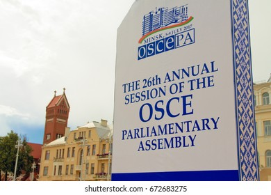 Minsk, Belarus - July 06, 2017 - Board of The 26th Annual Session of the Organization for Security and Co-operation in Europe (OSCE) Parliamentary Assembly in center of Minsk