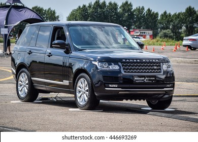 MINSK, BELARUS - JULY 1, 2016: Range Rover 5.0 Litre V8 Supercharged (510 hp) at the test-drive. Range Rover delivers incredible handling and confident agile cornering.