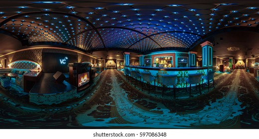 MINSK, BELARUS - JULY 1, 2016: Full 360 panorama  in equirectangular spherical projection in stylish night club Victoria Cherry.