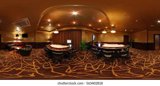 MINSK , BELARUS - JULY 11, 2011: Inside interior of luxury stylish gold casino Mirage vip room. Full 360 degree panorama in equirectangular spherical equidistant projection