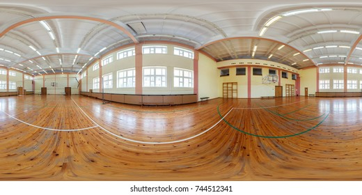 MINSK, BELARUS - JULY 11, 2013: Panorama in interior modern gymnasium basketball court. Full 360 by 180 degree seamless equirectangular equidistant spherical panorama. Skybox for vr ar content