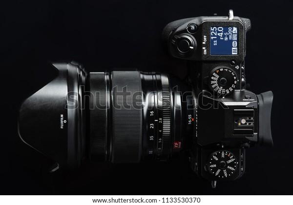 MINSK, BELARUS - JULY 13,2018 ; New Fujifilm flagship mirrorless digital camera body X-H1 launched in 2018
