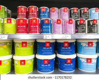 Minsk, Belarus - July 14, 2018: Building supermarket with paint from Tikkurila. The origin of the company started in 1862 in Finland.