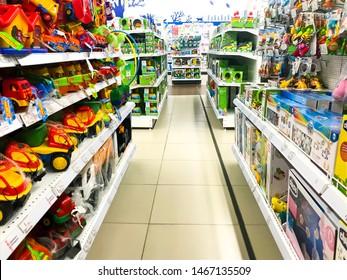 Minsk, Belarus - July 18, 2019: Toys for children on supermarket shelves