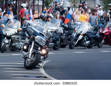 MINSK, BELARUS - JULY 18: The international bike-festival,Parade of motorcyclists. July 18, 2009 in Minsk, Belarus.