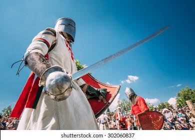 MINSK, BELARUS - JULY 19, 2014: Historical restoration of knightly fights on festival of medieval culture