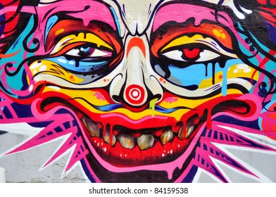 "MINSK, BELARUS -JULY 19: Traditional Graffiti Festival "" Urban Minsk "". Clown's graffiti wall the most colorful at the fest in Minsk, Belarus.July,19, 2009."