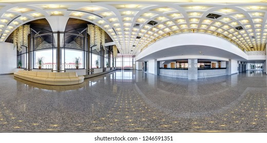 MINSK, BELARUS - JULY, 2016: full seamless panorama 360 degrees  angle view in interior of luxury empty hall with beautiful huge chandelier in equirectangular projection, skybox VR content