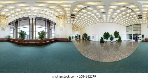 MINSK, BELARUS - JULY, 2016: panorama 360 angle view in interior of luxury empty hall with sofas and a beautiful huge chandelier in equirectangular projection, skybox VR content