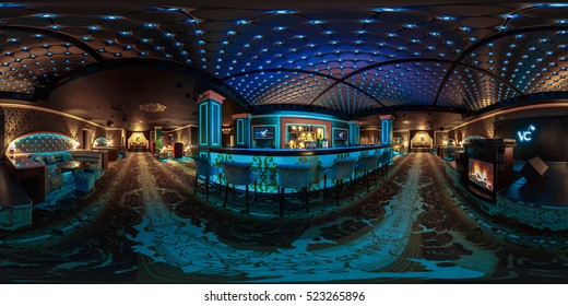 MINSK, BELARUS - JULY, 2016: seamless panorama 360 angle view in stylish night club Victoria Cherry with neon light. Full 360 panorama in equirectangular spherical projection. Skybox for VR AR content