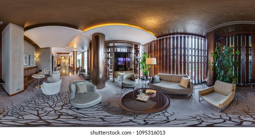 MINSK, BELARUS - JULY, 2017: full seamless panorama 360 by 180 angle view in interior of luxury guest relax waiting room in elite hotel equirectangular projection, skybox VR content