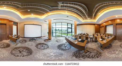 MINSK, BELARUS - JULY, 2017: full seamless panorama 360 degrees angle view in interior of luxury empty conference hall for business meetings in equirectangular spherical projection, skybox VR content