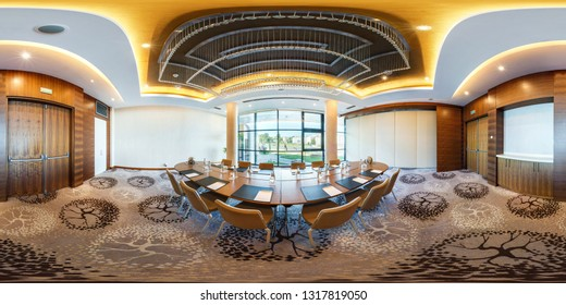 MINSK, BELARUS - JULY, 2017: full seamless spherical panorama 360 degrees angle view in interior of luxury empty conference hall for business meetings in equirectangular projection, skybox VR content