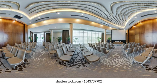 MINSK, BELARUS - JULY, 2017: full seamless spherical panorama 360 degrees angle  view in interior of modern empty conference hall for business meetings in equirectangular projection, skybox VR content