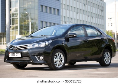 Minsk, BELARUS - JULY 22, 2014: New Toyota Corolla Imported from Moscow to Minsk. The car is parked on a street in Minsk.