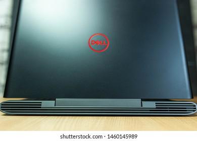 Minsk, Belarus - July 24, 2019: New  Laptop Dell G5 15