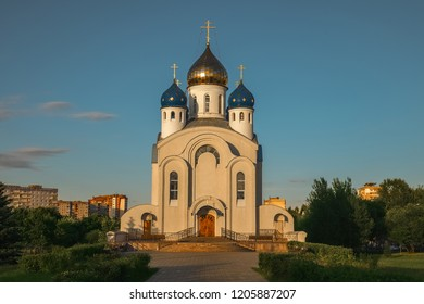 Minsk, Belarus, July 3, 2014 - Orthodox Church in sunset lights, view of Parish of the Church of the Resurrection of Christ