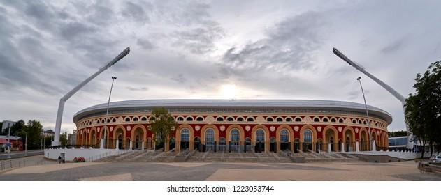 Minsk, Belarus - Jun, 2018. National Olympic Stadium Dinamo multi-purpose football and athletic stadium, will host 2019 second European Games. Home ground of Dinamo Minsk, FC Minsk. Panoramic view