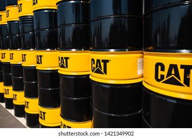 MINSK, BELARUS - June 08, 2019. Barrel logo Caterpillar CAT, during the agricultural exhibition