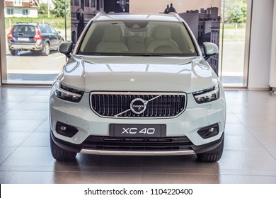 MINSK, BELARUS - JUNE 1, 2018: Volvo XC40 on a display at dealer's showroom in Minsk, Belarus. XC40 - is the first compact SUV of the Swedish car brand.