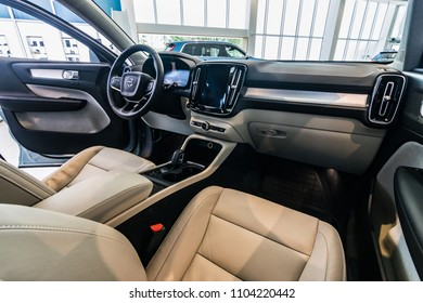 MINSK, BELARUS - JUNE 1, 2018: Volvo XC40 on a display at dealer's showroom in Minsk, Belarus. Photo of the interior. XC40 - is the first compact SUV of the Swedish car brand.