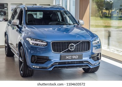 MINSK, BELARUS - JUNE 1, 2018: Volvo XC90 on a display at dealer's showroom in Minsk, Belarus. XC90 - is the largest SUV of the Swedish car brand.