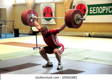 MINSK, BELARUS JUNE 1: Andrej Rybakov (under 85 kg) takes the weight during Belarus Open Championship in weightlifting on June 1, 2012 in Minsk, Belarus