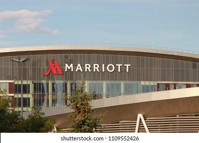 Minsk, Belarus, June 10, 2018: Marriott hotel logo