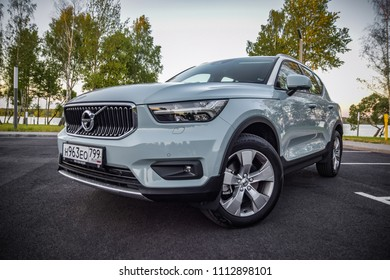 MINSK, BELARUS - JUNE 13, 2018: Volvo XC40 - the first subcompact SUV made by Swedish carmaker. Under the bonnet of this T5 AWD model is a 2.0-litre turbo-petrol engine with a 250 hp of power.