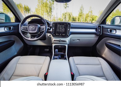 MINSK, BELARUS - JUNE 13, 2018: Interior of Volvo XC40 - the first subcompact SUV made by Swedish carmaker. The dashboard's simple layout centered around a standard 9.0-inch touchscreen.
