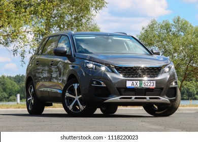 MINSK, BELARUS JUNE 13, 2018: New Peugeot 5008 at the test drive event for automotive journalists from Minsk