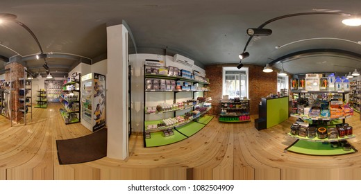 MINSK / BELARUS - JUNE 14, 2015: Panorama 360 angle view in sports nutrition store. Full 360 degrees seamless spherical equirectangular panorama. Skybox VR, AR content