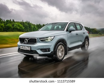 Minsk, Belarus - June 15, 2018: Volvo XC40 drives on a highway during rainy summer day. Volvo XC40 is the first subcompact SUV by Volvo. Under the bonnet of this T5 AWD model is a 2.0 turbo engine.