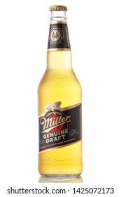 MINSK, BELARUS - June 15, 2019: Bottles of Miller Genuine Draft, the original cold filtered packaged draft beer, a product of the Miller Brewing Company owned by SABMiller