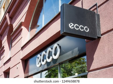 Minsk, Belarus - June 16, 2017: A sign ECCO above entrance to store in Minsk. Ecco is a Danish brand of shoes and footwear, spread worldwide