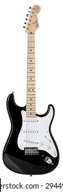 """MINSK, BELARUS - JUNE 17, 2015: High resolution Fender Stratocaster Eric Clapton """"Blackie"""" electric guitar isolated on white background. Signature model product shot"""