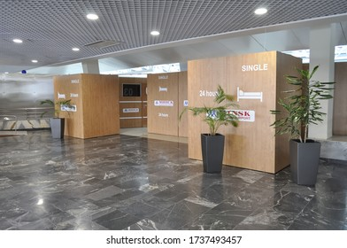 MINSK, BELARUS - JUNE 20, 2016: Cabin for Sleep in the departure terminal at Minsk National Airport (formerly known as Minsk-2).